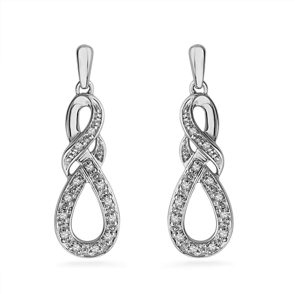 Diamond Infinity Knot Drop Earrings-SHEF071370CAW - Jewelry by Johan
