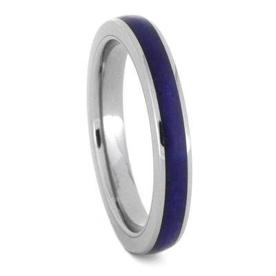 Lapis Lazuli Wedding Band Set, His And Hers Titanium Rings-3433 - Jewelry by Johan