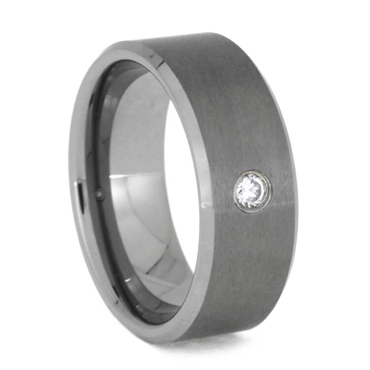 Men's Diamond Wedding Ring With Satin Tungsten Finish, Size 8.5-RS9825 - Jewelry by Johan