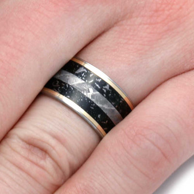 Thick Men's Wedding Band With Meteorite And Yellow Gold Pinstripes, Size 8.5-RS8925 - Jewelry by Johan