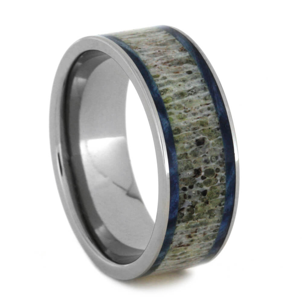 Antler Wedding Band With Blue Box Elder Burl Wood-2510 - Jewelry by Johan