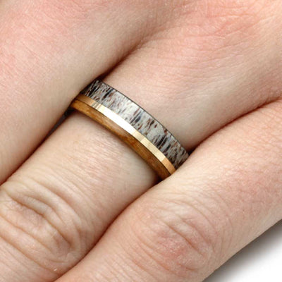 Yellow Gold Men's Wedding Band with Antler And Wood