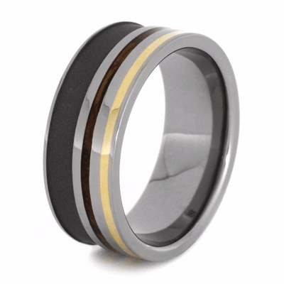 whiskey barrel wood ring with yellow gold