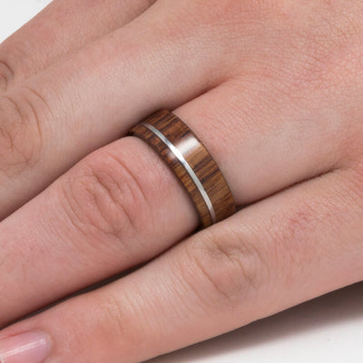 Men's Wedding Band With Pinstripe