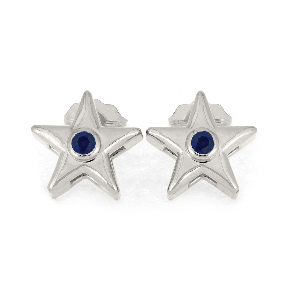 September Birthstone Gold Star Earrings with Blue Sapphire-4650SP - Jewelry by Johan