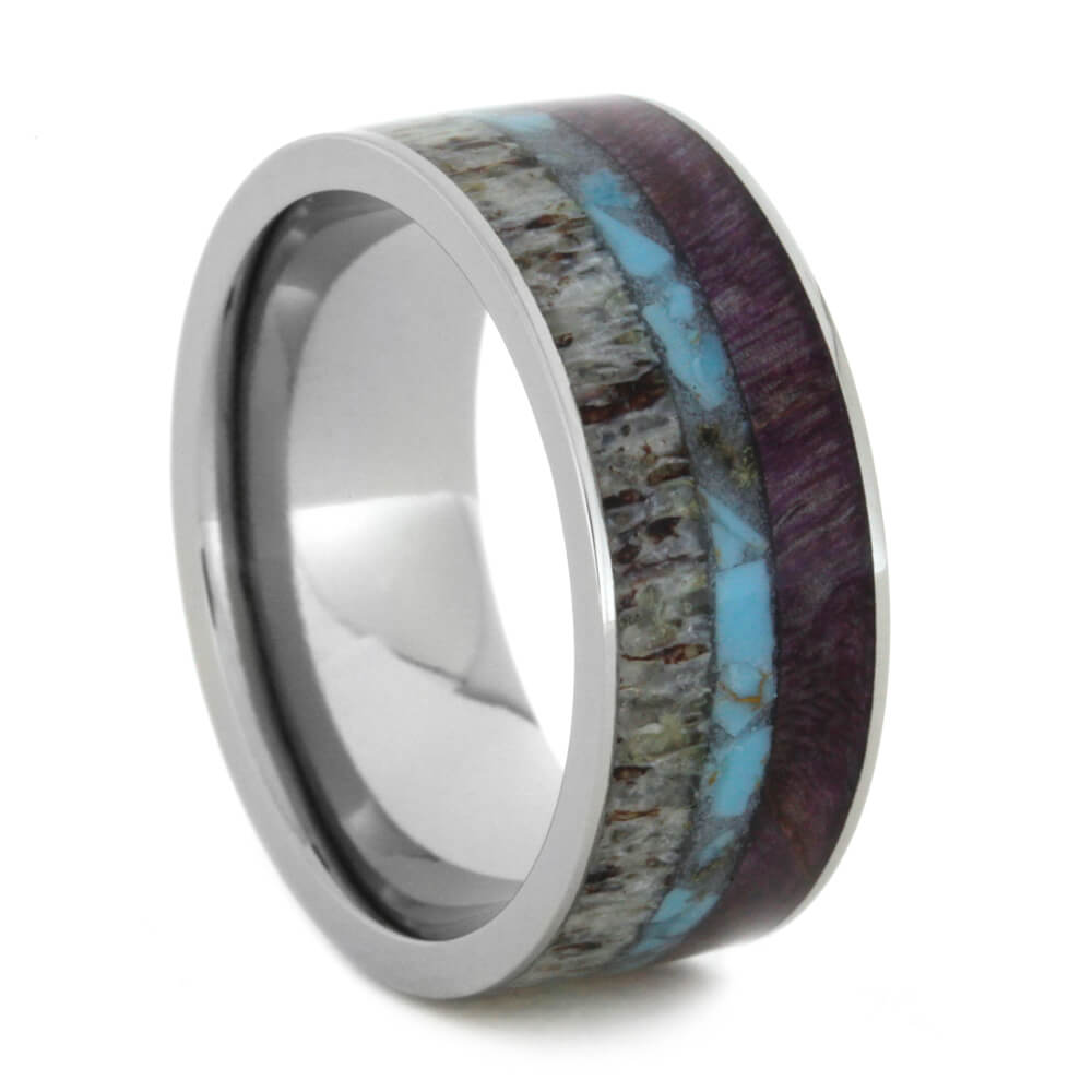 Turquoise Wedding Band With Purple Wood And Antler-2530 - Jewelry by Johan
