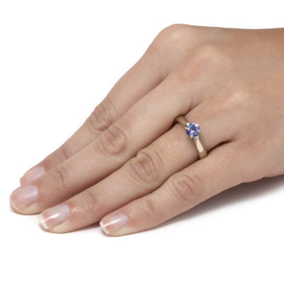 Tanzanite Engagement Ring With Diamond Accents in White Gold-3706 - Jewelry by Johan