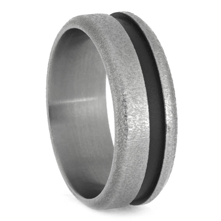 Rugged Titanium Wedding Band With Dual Ring Finishes-2082 - Jewelry by Johan
