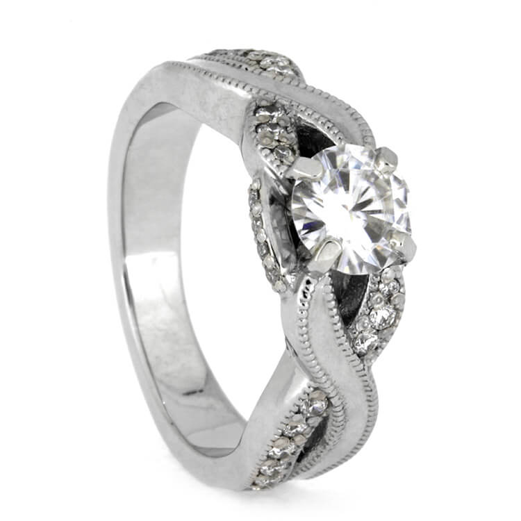 Moissanite Engagement Ring With Polished Platinum