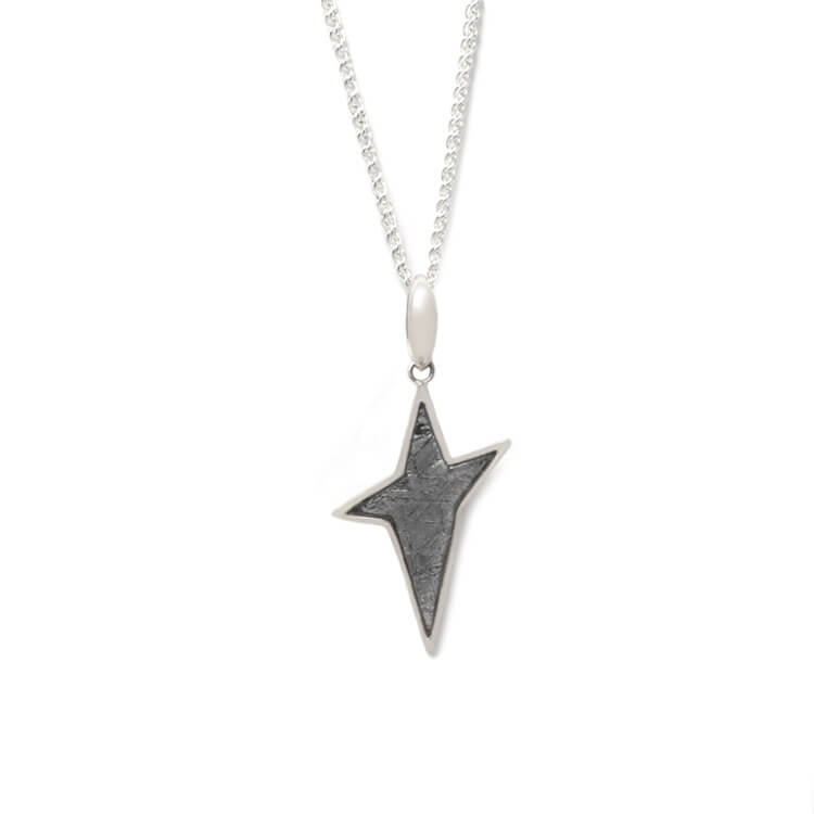 "30"" Meteorite Star Necklace, Sterling Silver Rope Chain With Muonionalusta Meteorite-RSSB158"
