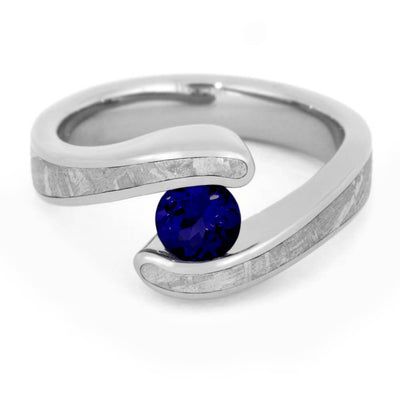 Blue Sapphire Engagement Ring, Titanium Meteorite Ring-3300 - Jewelry by Johan