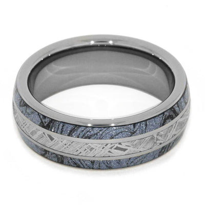 Tungsten Ring With Cobaltium Composite Mokume And Meteorite Inlays-2855 - Jewelry by Johan