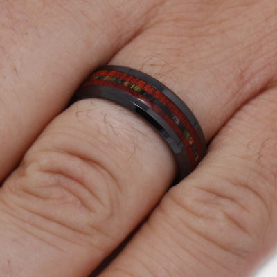 Black Ceramic Ring, Bloodwood And Dymondwood Inlays-3281 - Jewelry by Johan