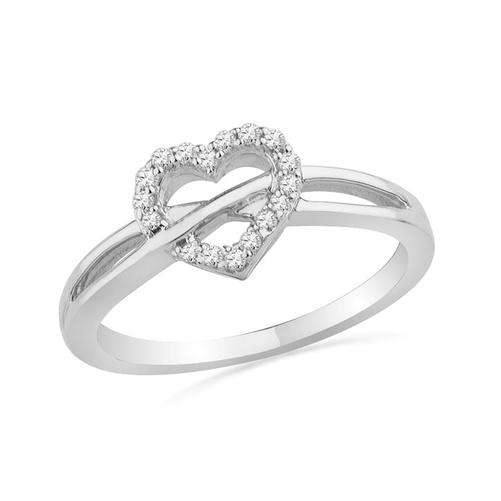Diamond Crisscross Heart Promise Ring-SHRH072419 - Jewelry by Johan