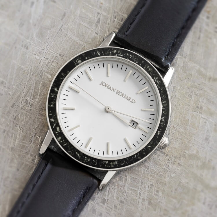 Stainless Steel Watch With Black Leather Strap, Shown In Black Stardust