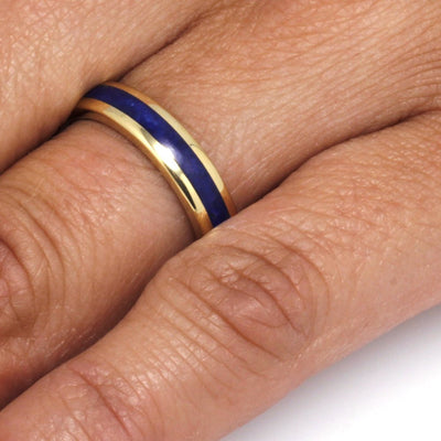 Lapis Ring in Yellow Gold, Womens 18k Yellow Gold Ring, Round Profile-3306 - Jewelry by Johan
