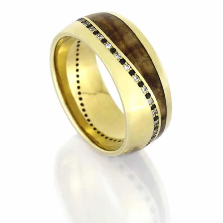 Black And White Diamond Wedding Band, Wood Ring in Yellow Gold-DJ1016YG - Jewelry by Johan