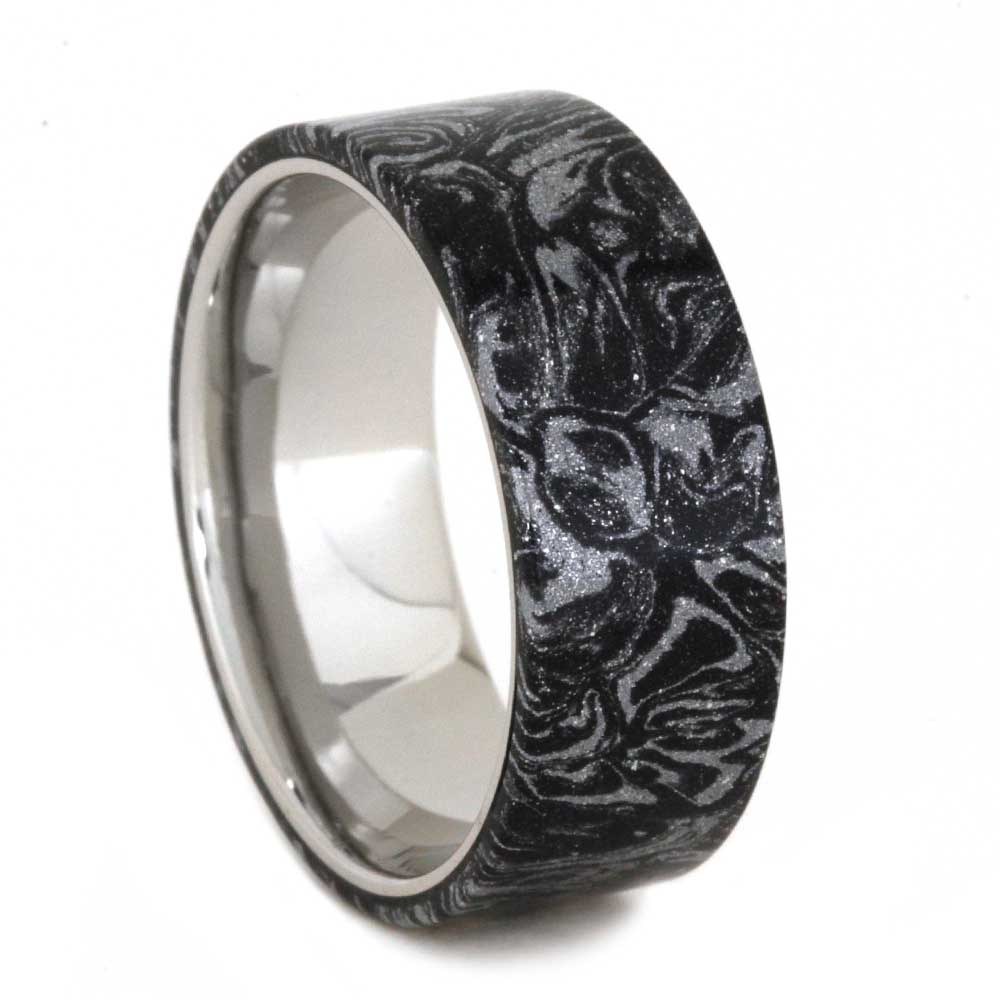 Mokume Gane Wedding Band with Palladium Sleeve, Size 9-RS8933 - Jewelry by Johan