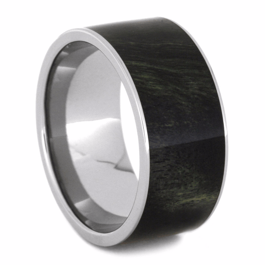 Green And Black Poplar Wood Ring in Titanium-2162 - Jewelry by Johan