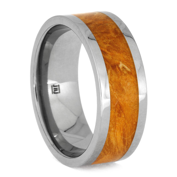 Orange Box Elder Burl And Titanium Wedding Band Size 10RS10037