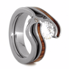 Moissanite & Wood Wedding Ring Set in Titanium-2131 - Jewelry by Johan