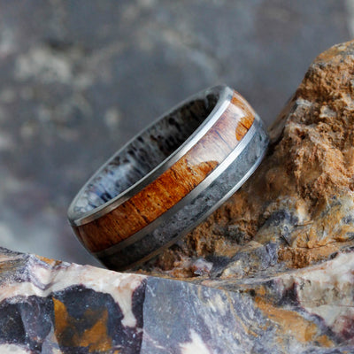 Deer Antler, Onyx And Mesquite Wood Men's Band-2413 - Jewelry by Johan