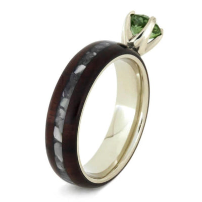Peridot Ring with Mother of Pearl and Bolivian Rosewood-1792 - Jewelry by Johan