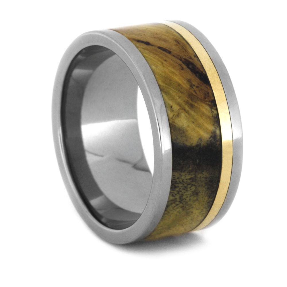 Interchangeable Ring With Buckeye Burl And Bronze Inlays, Size 12.25-RS9213 - Jewelry by Johan
