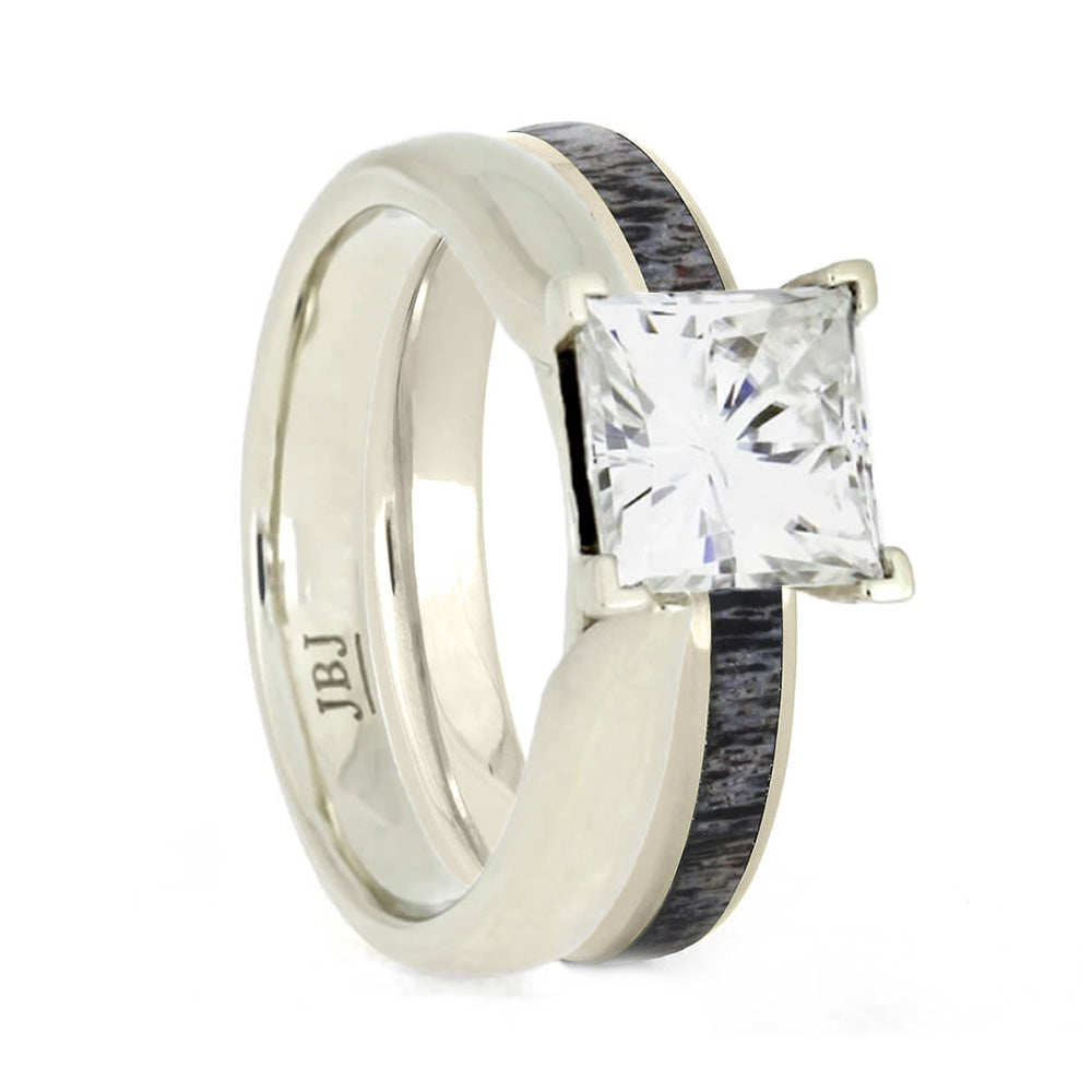 Deer Antler Bridal Set With Moissanite Engagement Ring-3437 - Jewelry by Johan