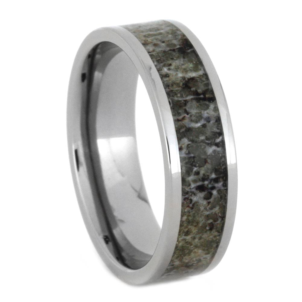 Deer Antler Wedding Band Made With Titanium-SIG3007 - Jewelry by Johan
