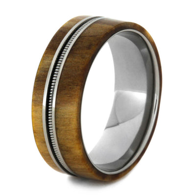 Rowan Wood Wedding Band With Bass String, Guitar Ring-2124 - Jewelry by Johan
