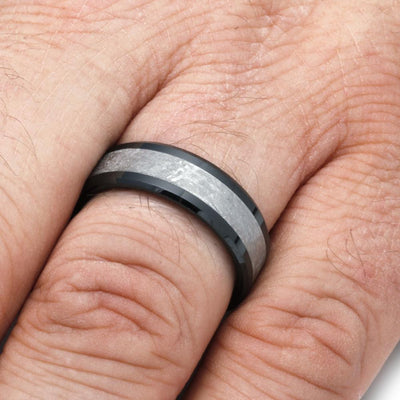 Black Ceramic Meteorite Men's Wedding Band On a Finger