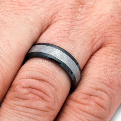 Masculine Men's Wedding Band With Meteorite-SIG3028 - Jewelry by Johan