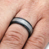 Black Ring For Men WIth Gibeon Meteorite