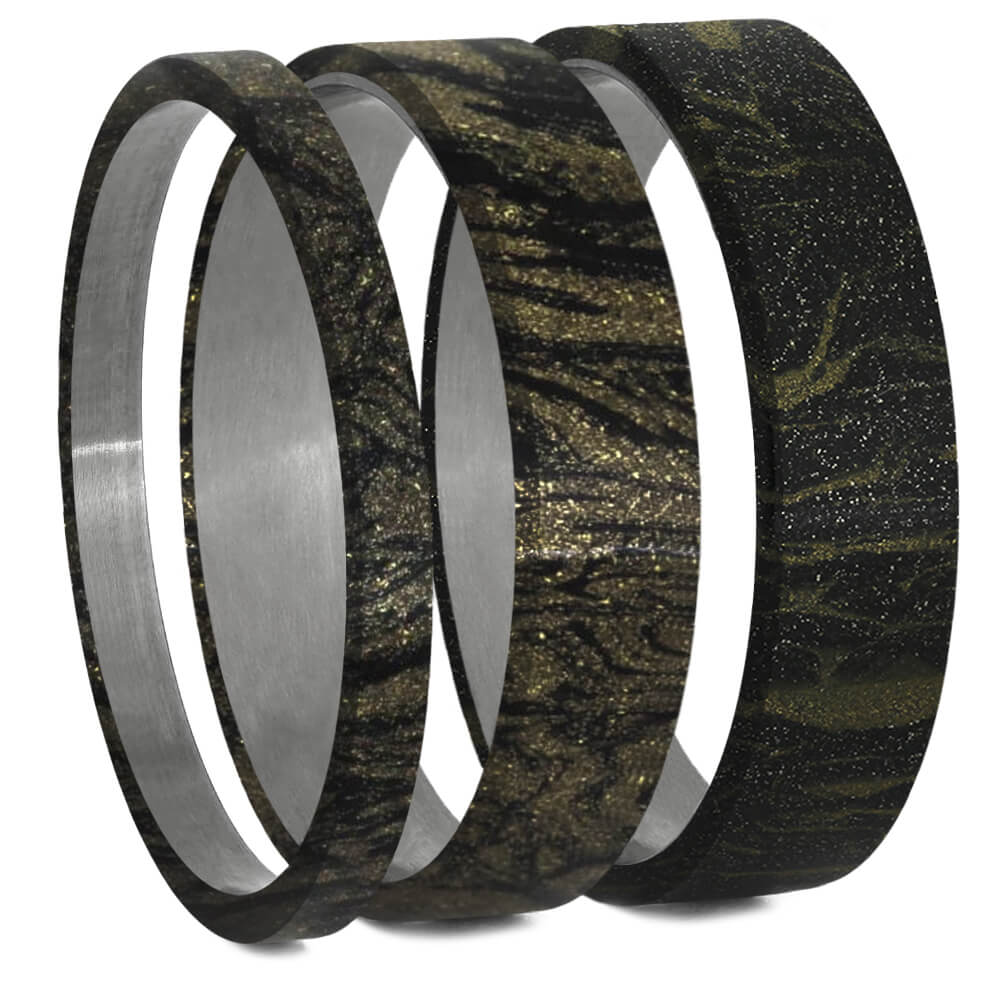 Black & Gold Mokume Gane Inlays for Interchangeable Rings, 2MM, 5MM or 6MM-INTCOMP-MOK - Jewelry by Johan