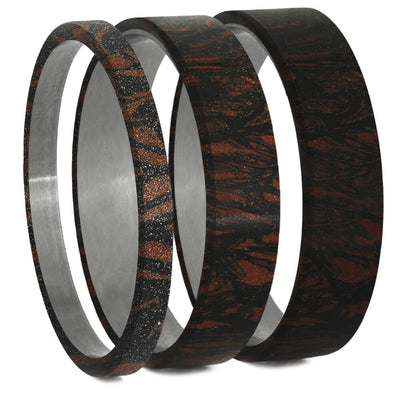 Black & Red Mokume Gane Inlays for Interchangeable Rings, 2MM, 5MM or 6MM-INTCOMP-MOK - Jewelry by Johan