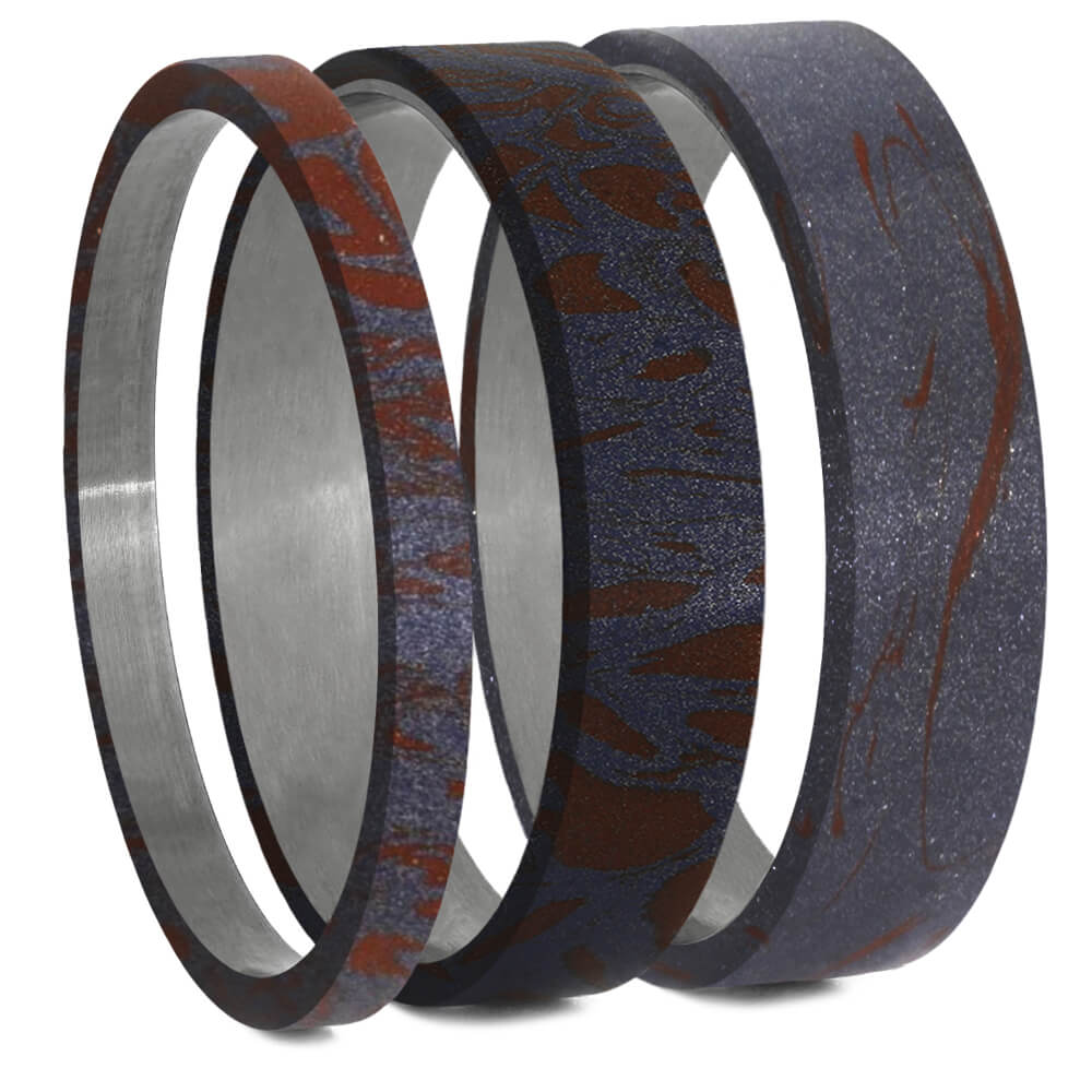 Blue Bronze & Red Mokume Gane Inlays for Interchangeable Rings, 2MM, 5MM or 6MM-INTCOMP-MOK - Jewelry by Johan