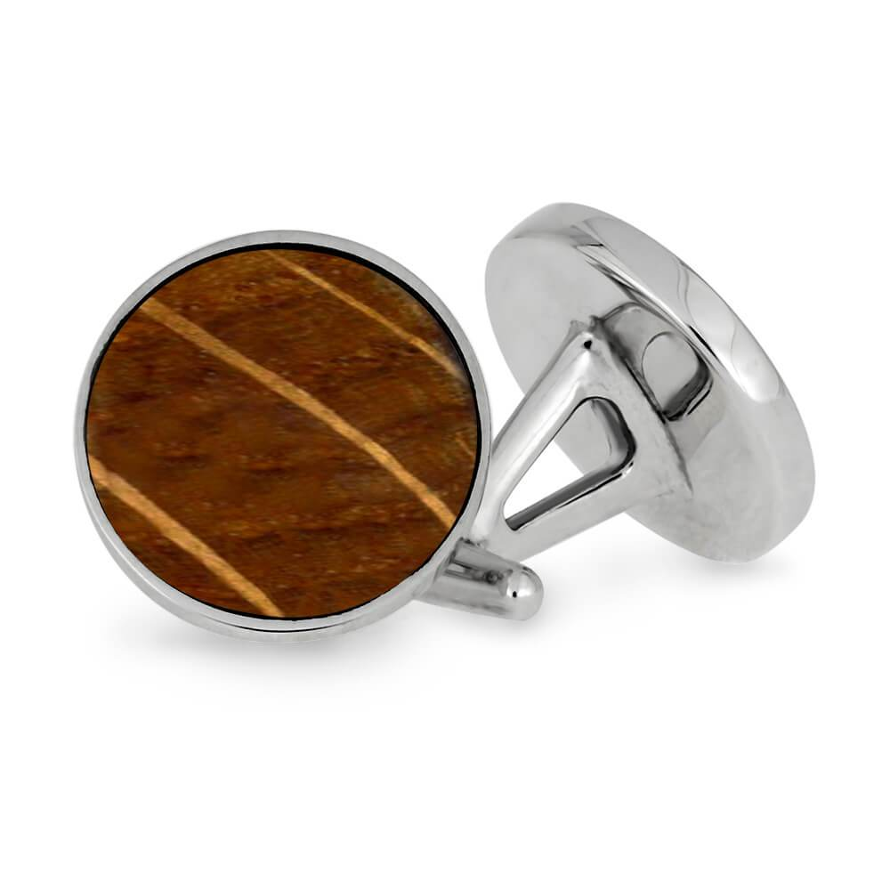 Whiskey Barrel Oak and Stainless Steel Cuff Links-CFSS-WDP - Jewelry by Johan