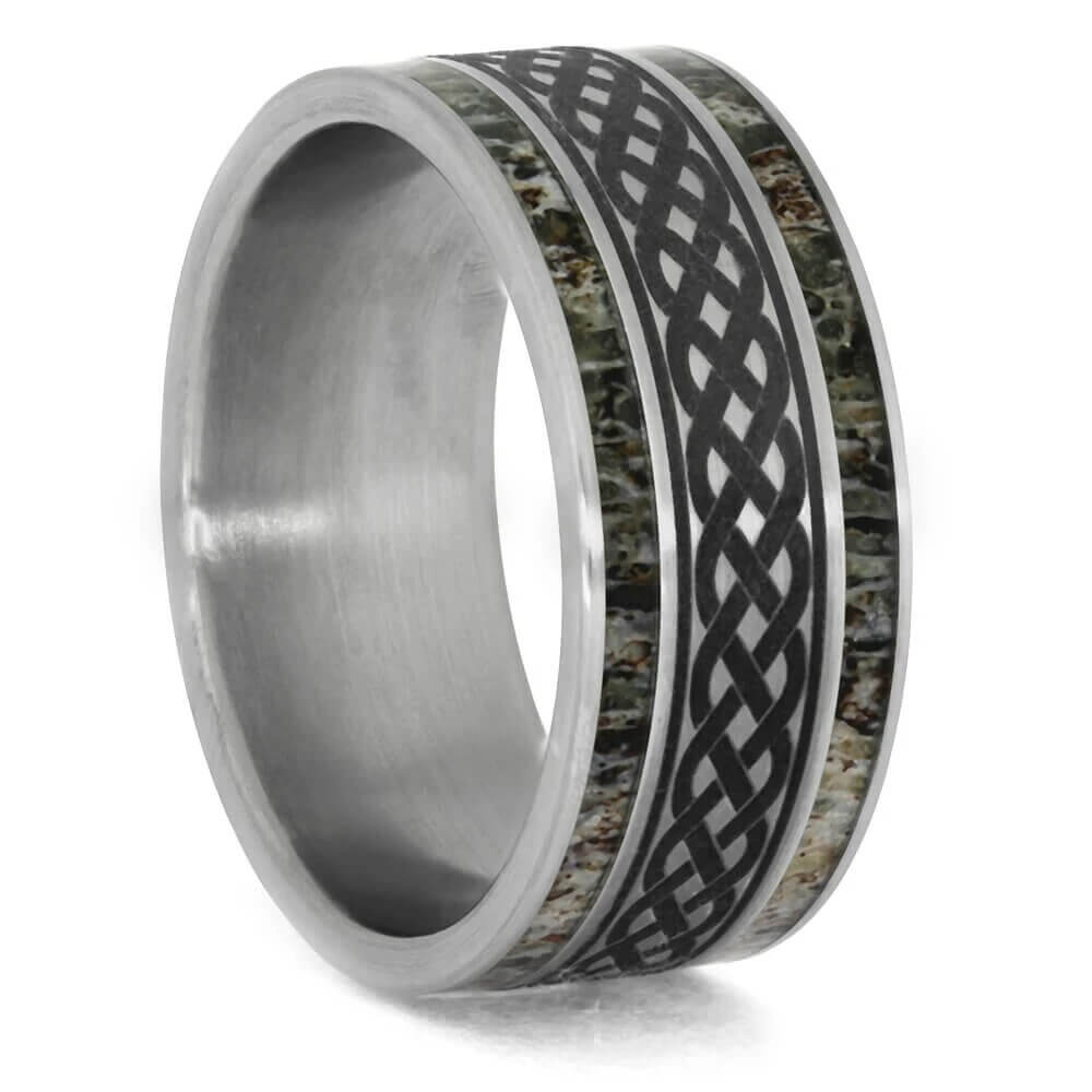 Celtic Knot Wedding Band with Deer Antler-4592 - Jewelry by Johan