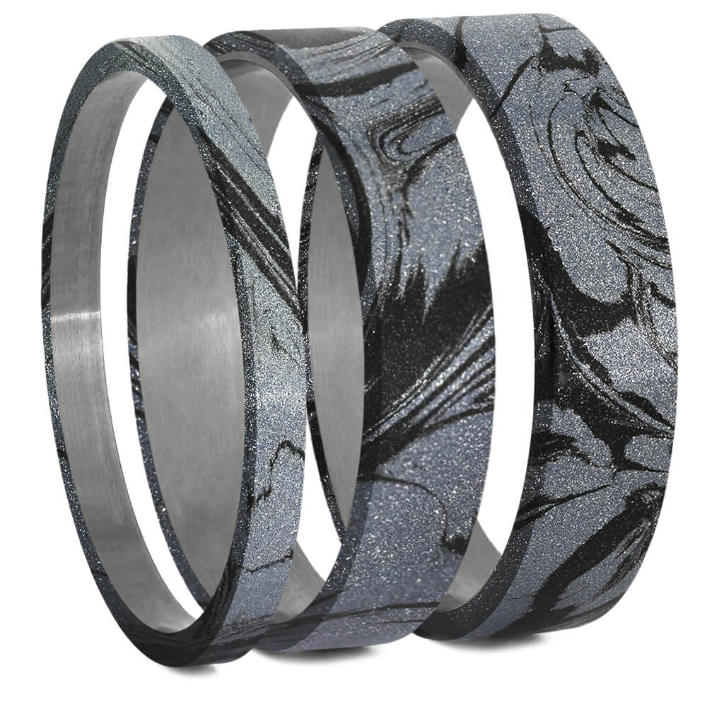 Cobaltium Mokume Gane Inlays for Interchangeable Rings, 2MM, 5MM or 6MM-INTCOMP-MOK - Jewelry by Johan
