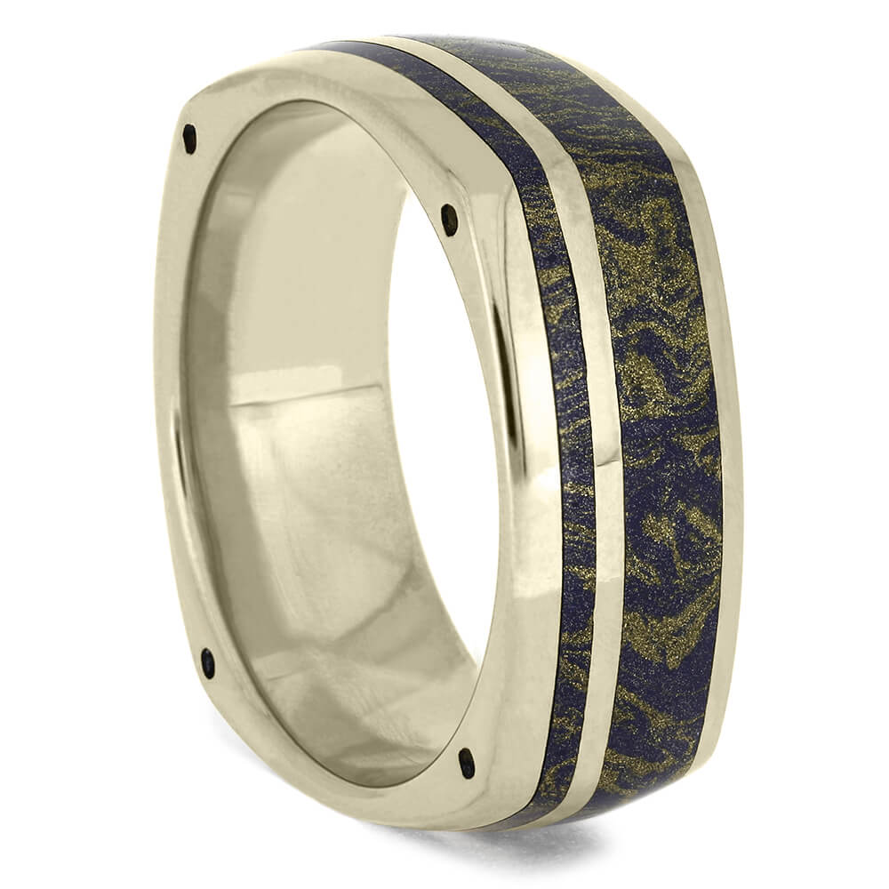 Lapis Mokume Wedding Band, White Gold Ring With Side Accents-DJ1003WG - Jewelry by Johan