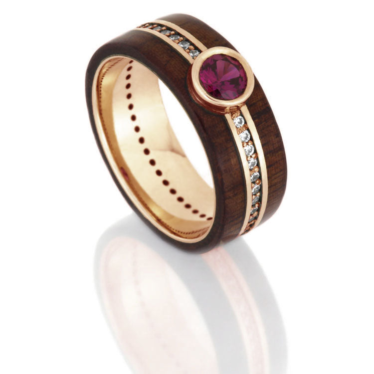 Ruby Wedding Ring With Diamond Band, Rosewood Ring in Rose Gold-DJ1008RG - Jewelry by Johan