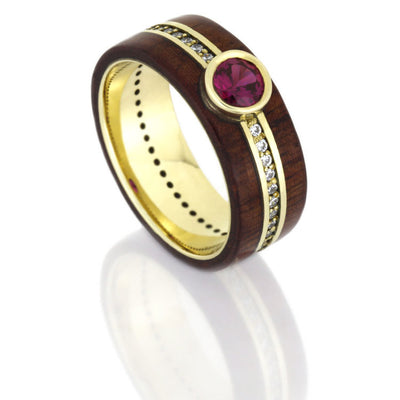Ruby Wedding Ring in Yellow Gold, Rosewood Ring With Diamond Band-DJ1008YG
