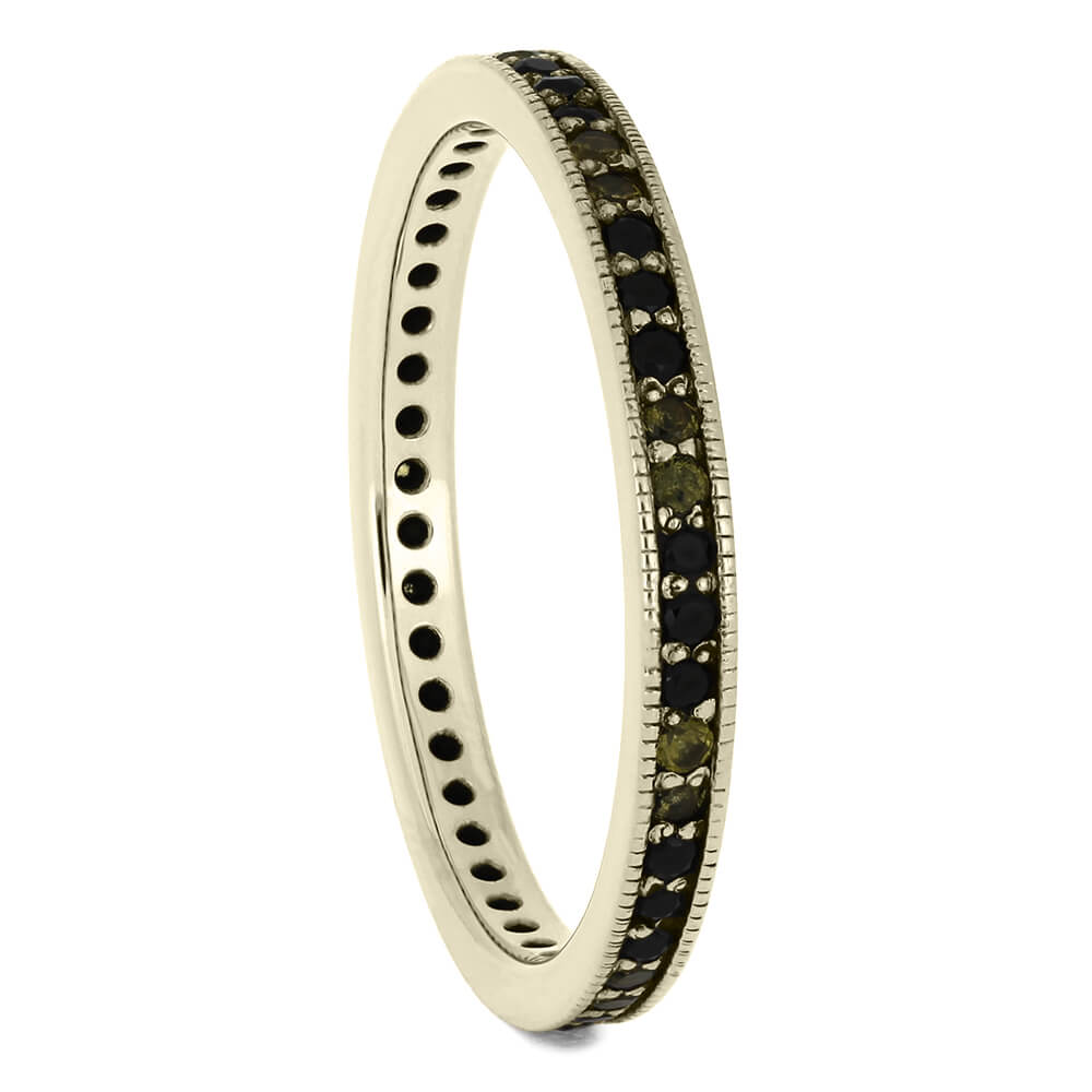 Women's Gemstone Eternity Band in White Gold With Diamond And Sapphire-DJ1010WG - Jewelry by Johan