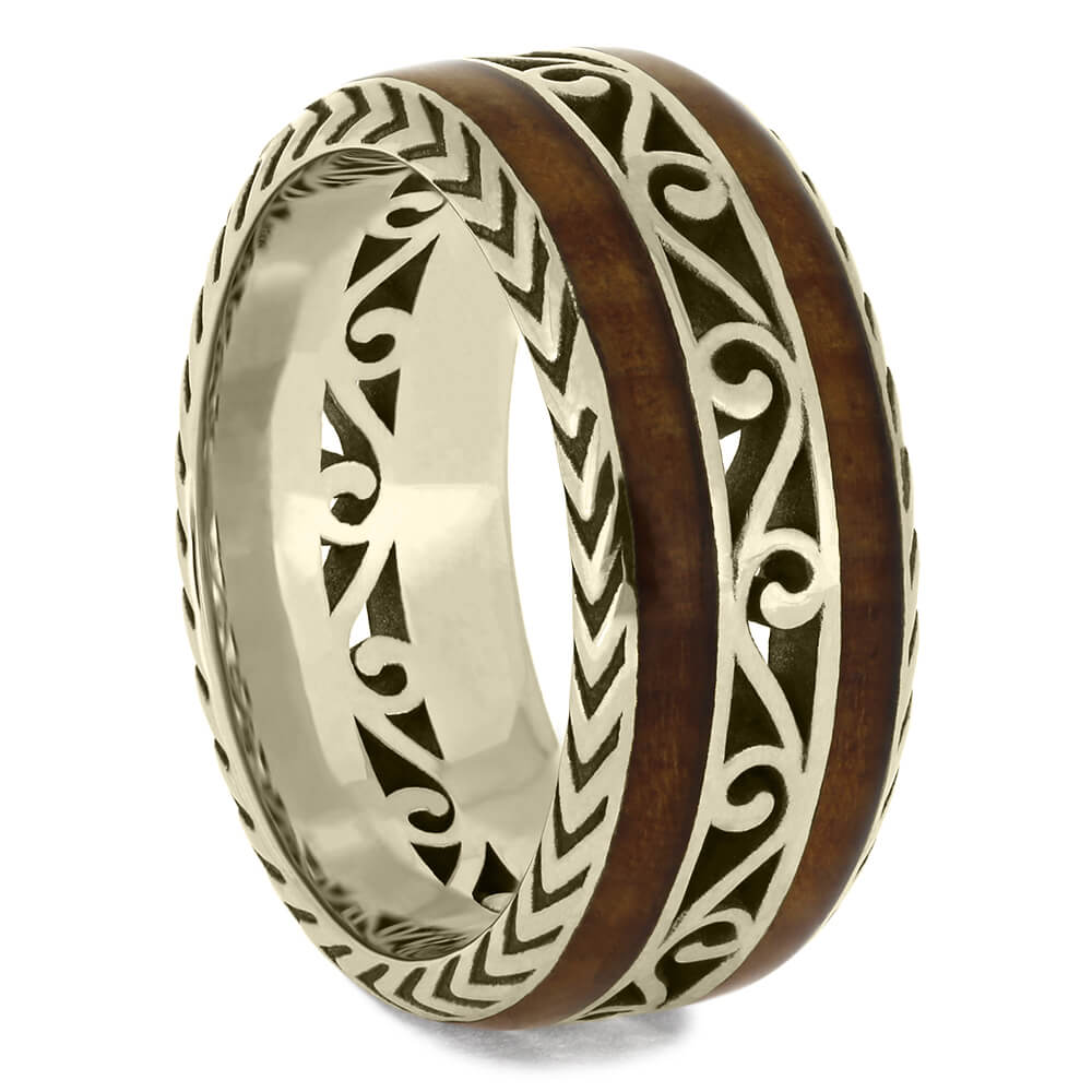 White Gold Wedding Band with Cherry Wood