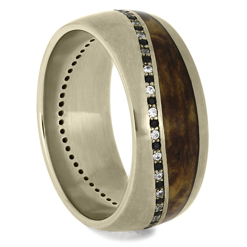 White Gold Diamond Eternity Wedding Band with Wood