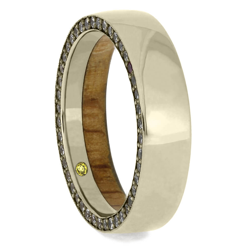White Gold and Oak Wood Wedding Band