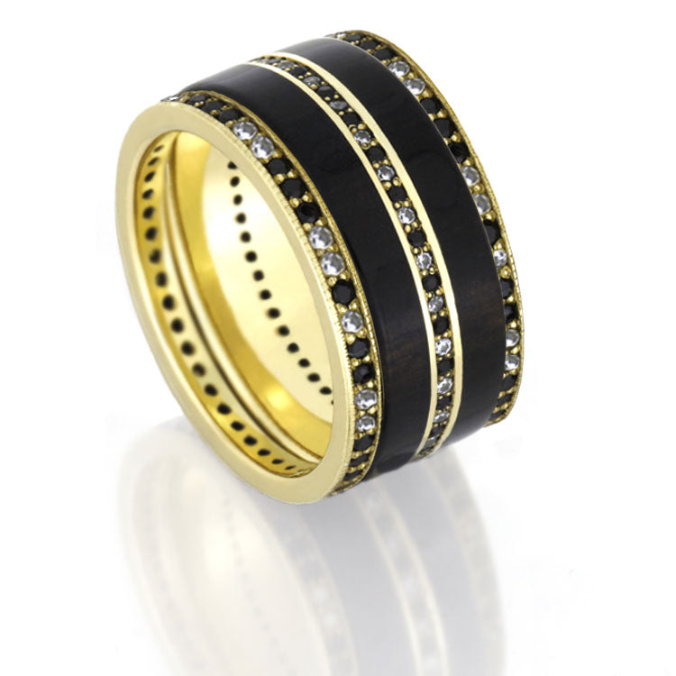 Black Wedding Ring Set, Stackable Diamond Eternity Rings in Yellow Gold-DJS1001YG - Jewelry by Johan