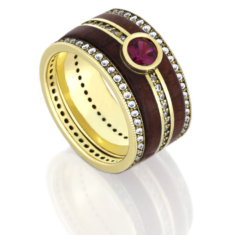Ruby Diamond Eternity Bridal Set, Yellow Gold Ring With Rosewood-DJS1003YG - Jewelry by Johan