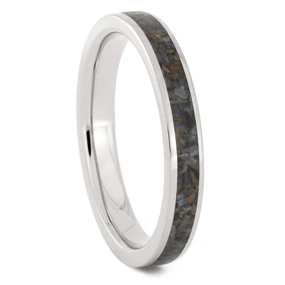 Crushed Dinosaur Bone Women's Wedding Band, 3mm Ring - Jewelry by Johan